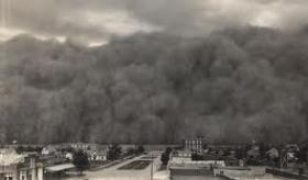 A dust storm rolls into the Oklahoma panhandle town of Hooker, on June 4, 1937.