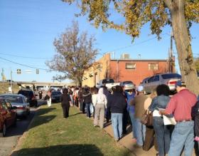 File photo of voters waiting to cast an election ballot in Tulsa