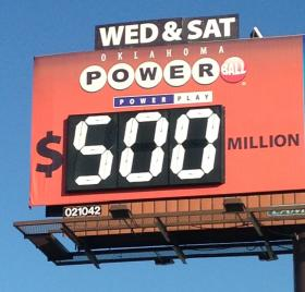 A lottery billboard on I-244 near Sheridan in Tulsa