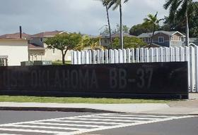 The USS Oklahoma Memorial on Ford Island, Hawaii.