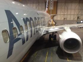 The new design and color scheme for American Airlines' jets was shown off today at AA's Center in Tulsa