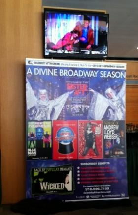 A poster announces the upcoming Broadway season at the PAC