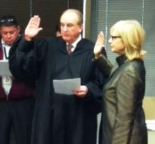 District 2 Tulsa County Commissioner Karen Keith takes the oath of office.