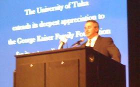 Ken Levitt speaking on the TU campus