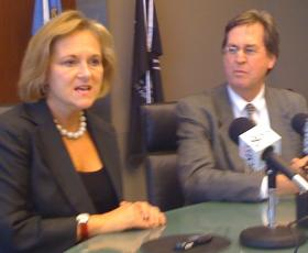 Former Mayor Taylor and Current Mayor Bartlett at a joint news conference in 2009.