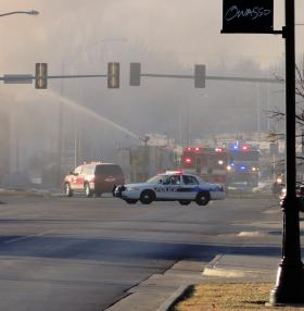 Owasso Police block off 76th Street North at Main Street due to a large fire