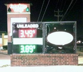 The gas price sign in front of the Kum-and-Go at 101st and South Mingo