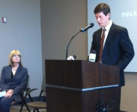 The jobs announcement was made at the Chamber of Commerce as County Commissioner Karen Keith listens