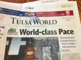 Monday's front page of the Tulsa World.