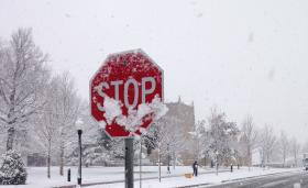 Stop sign at 5th Place and Florence