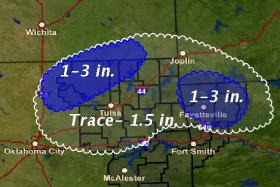 Total snow accumulation for Northeast Oklahoma