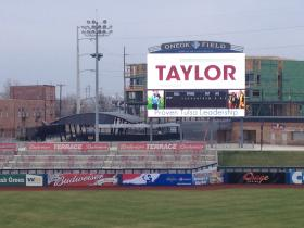 Taylor used the Driller's media board to promote her campaign