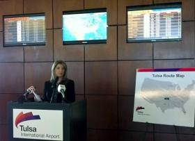 An announcement about an initiative to attract more air service from Tulsa is made at TIA