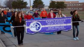 The Bartlesville Band practices before its trip to Ireland.