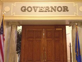 The sign outside the Governor's office at the Oklahoma capitol