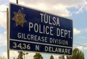 The sign outside of the North Tulsa Police station