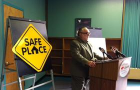 Youth Services Director Jim Walker announces Library additions to Safe Place Program