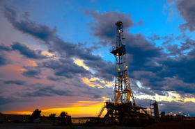 Oil rig at daybreak