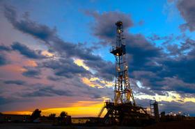 Oil rig at daybreak