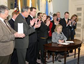 Governor at bill signing cremony
