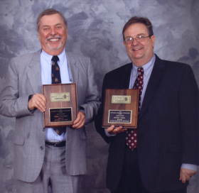 """""""Swing On This"""" host John Wooley and KWGS News Director John Durkee"""