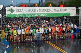 The starting line for the OKC Marathon
