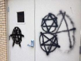 Graffiti on the mosque doors
