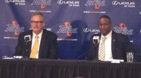 TU President Steadman Upham and new Golden Hurricane Athletic Director Derrick Gragg announce to move to the Big East.