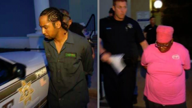 Eulalio Don Cochran Rangel and his girlfriend, Andrea Marie Lang are taken into police custody.