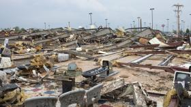 File photo of damage caused by the Moore tornado last May.