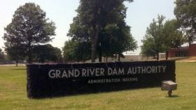 The sign in front of the Grand River Dam Authority Headquarters