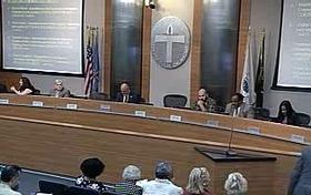 The City Council prepares to vote at last night's council meeting.