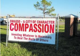 "File photo of an Owasso ""Character"" sign, sponsored by the Owasso Chamber of Commerce."