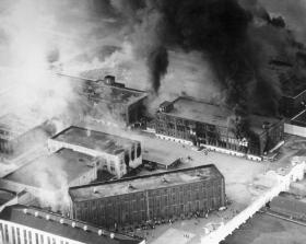 The prison at McAlester burns during the 1973 riot.
