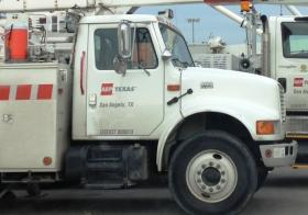 An AEP crew from Texas works on Tulsa's power problems.