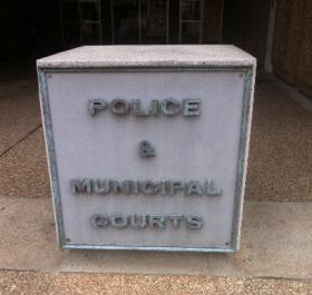 The sign in front of Tulsa Police headquarters, downtown.