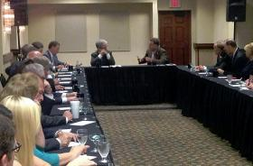 Senator Coburn meets with leaders of the Tulsa Chamber, prior to a breakfast address.
