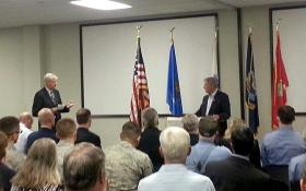 Senator Inhofe takes questions from the audience during an address to the Air Force Association near the Tinker Air Force Base.