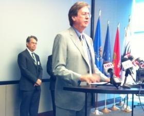 Mayor Bartlett and members of a study committee announce recommendations for changes to the city's retirement system