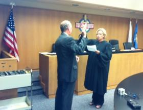 Ron Peters takes the oath of office at the Tulsa County Courthouse