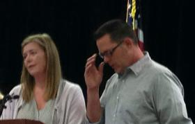 Matt and Melanie Capobianco at a Tulsa news conference