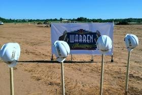 the site of the new Warren Theatre in Broken Arrow. Ground was broken this morning.