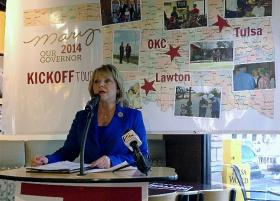 Governor Fallin makes her re-election announcement in Tulsa.
