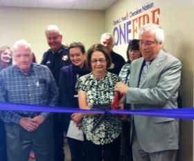 The ribbon is cut for the new One Fire Wing at Tulsa's Family Safety Center.