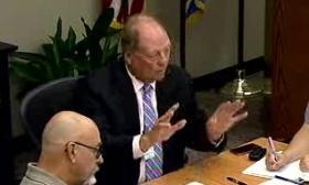 Board Chair Randy Sullivan makes a point at yesterday's Trash Board meeting.