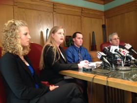 (From left) Robin Brown, Cherokee Nation Assistant Attorney General Chrissi Nimmo, Dusten Brown and attorney Robert Nigh sit at a press conference announcing Dusten will drop all litigation pending in Oklahoma and Cherokee courts involving his biological daughter, Veronica.