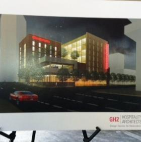 An artist's concept of the Hilton Garden Inn downtown.