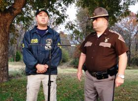 The NTSB's Aaron Sauer and Oklahoma Highway Patrol Captain George Brown at yesterday's briefing.