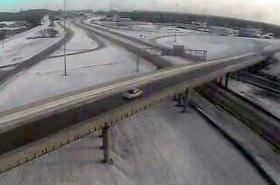 A lone car travels the expressway at the I-244/I-44 split in west Tulsa.