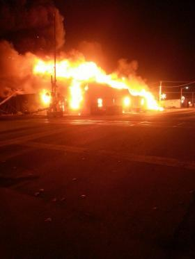 The spectacular fire at the Ranch Supply Store in Nowata this morning.